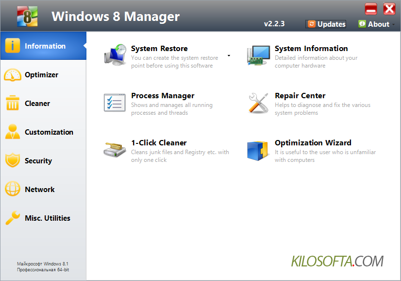 Панель информационных инструментов Windows 8 Manager